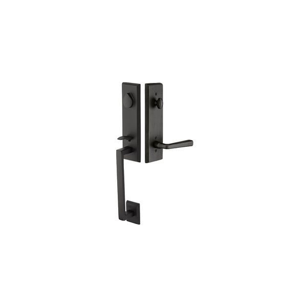 Emtek 451522 Rustic Modern Rectangular One Piece Single Cylinder Keyed Entry Handleset from the Sandcast Bronze Collection - Stellar Hardware and Bath
