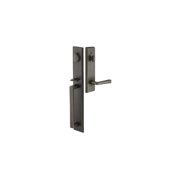 Emtek 450623 Rustic Modern Rectangular Full Plate Dummy Handleset from the Sandcast Bronze Collection - Stellar Hardware and Bath