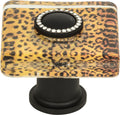 Atlas Cheetah Glass Square Knob 1 1/2 Inch - Stellar Hardware and Bath