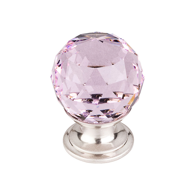 Top Knobs Pink Crystal Knob 1 1/8 Inch  Base - Stellar Hardware and Bath