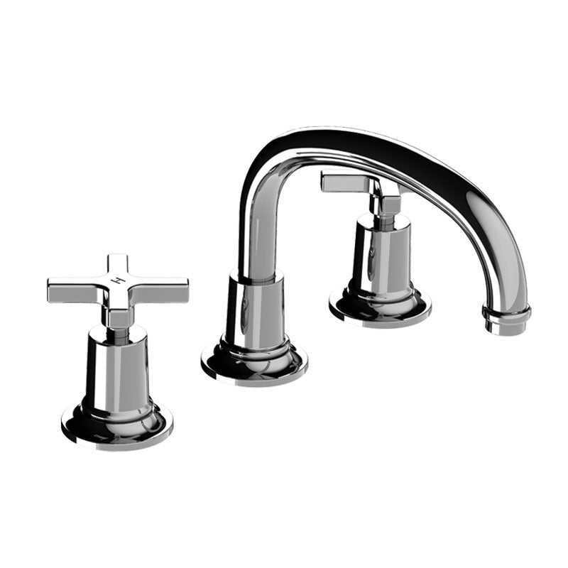 Lefroy Brooks M2-1124  Fleetwood Cross Handle 3 Hole Basin Mixer With Low Lever Spout - Stellar Hardware and Bath