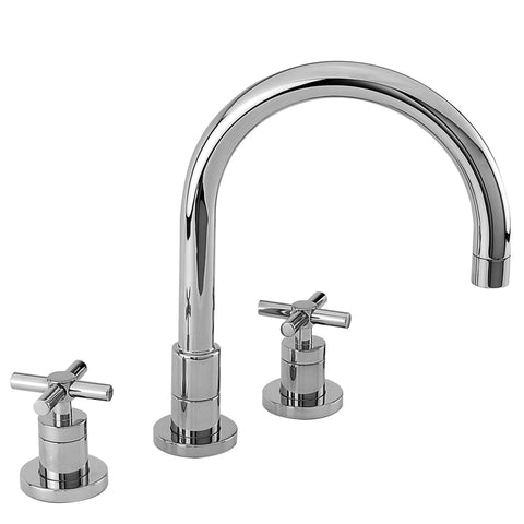 9901 East Linear Double Handle Widespread Kitchen Faucet with Metal Cross Handles