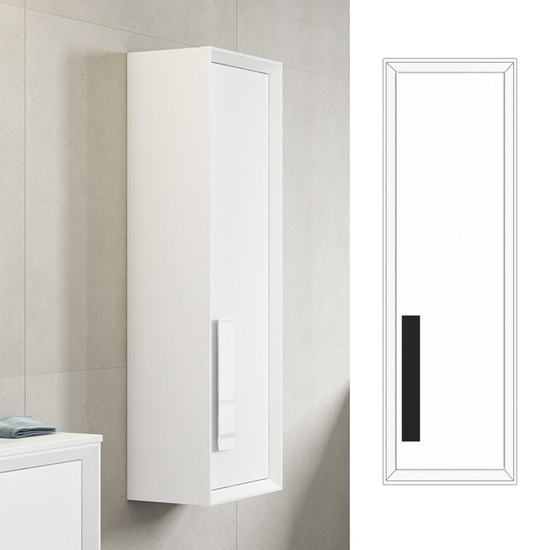 Lucena Bath White and Black Décor Cristal Tall Unit - Stellar Hardware and Bath