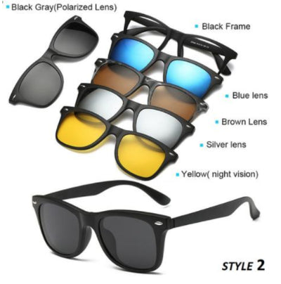 5 in 1 Magnetic Clip-on Sunglasses - dailytravelvibe
