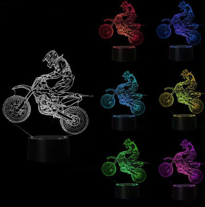 3D Optical Illusion Motocross LED Lamp - dailytravelvibe