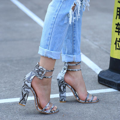 Sexy Transparent Ankle Thick High Heels - dailytravelvibe