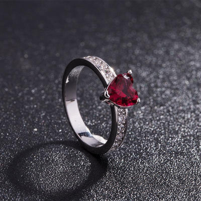 Ruby - Skull Red Heart Crystal Ring - dailytravelvibe