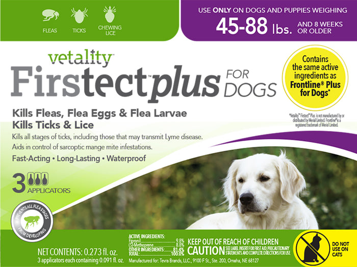 Vetality Firstect Plus Dogs 45-88 lbs 3 Dose