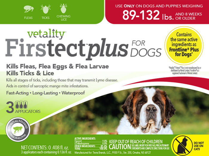Vetality Firstect Plus Dogs 89-132 lbs 3 Dose