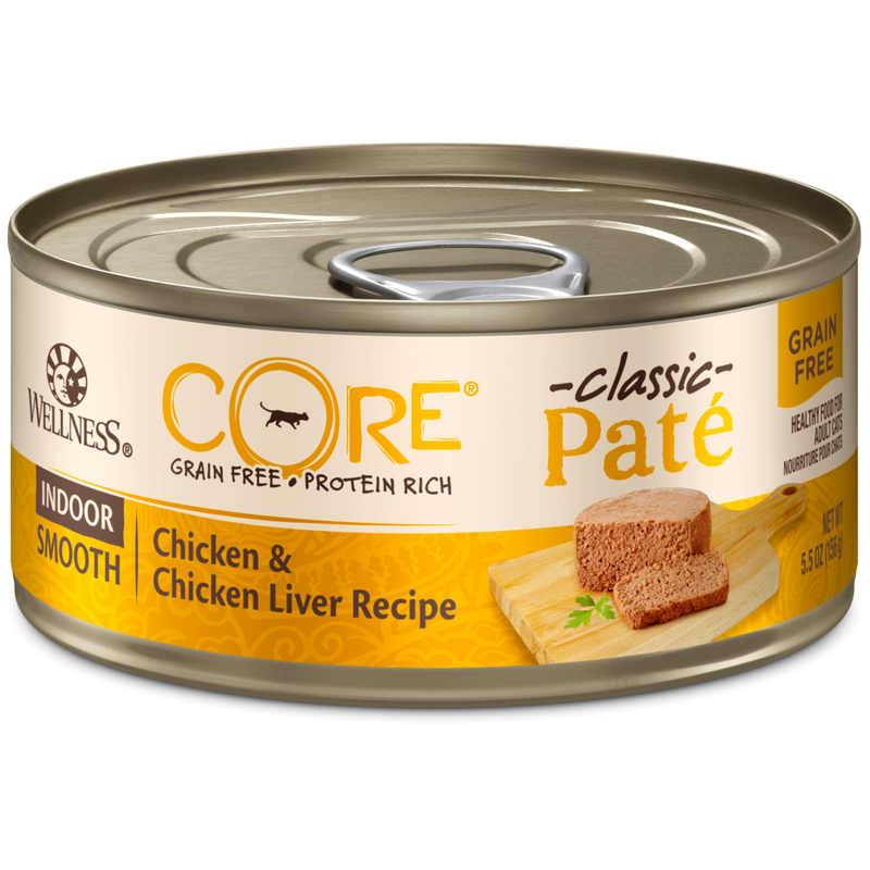 Wellness CORE Natural Grain Free Indoor Chicken and Chicken Liver Smooth Pate Wet Canned Cat Food