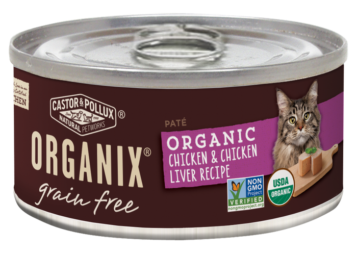 Castor and Pollux Organix Grain Free Organic Chicken and Chicken Liver Recipe Canned Cat Food