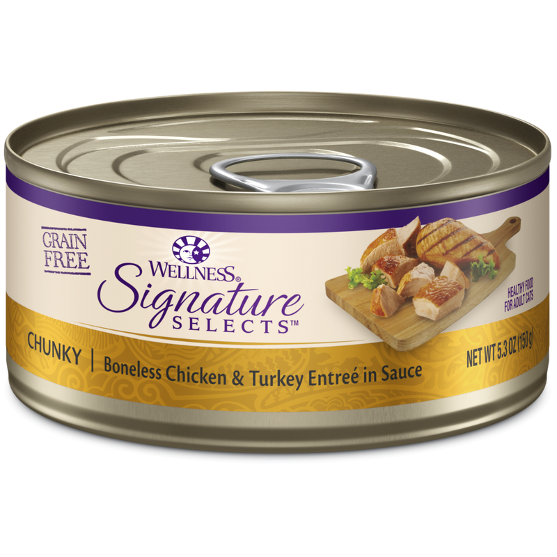 Wellness Signature Selects Grain Free Natural White Meat Chicken and Turkey Entree in Sauce Wet Canned Cat Food