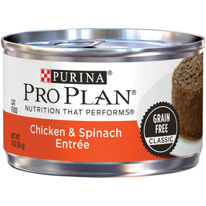 Purina Pro Plan Savor Adult Grain Free Chicken & Spinach Entree Classic Canned Cat Food