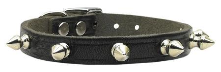 Spiked Black Leather Collar