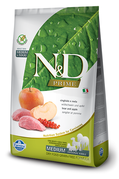 Farmina N&D Natural and Delicious Grain Free Medium Adult Wild Boar & Apple Dry Dog Food