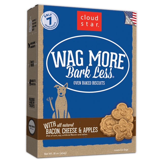 Cloud Star Wag More Bark Less Oven Baked Bacon, Cheese and Apple Dog Treats