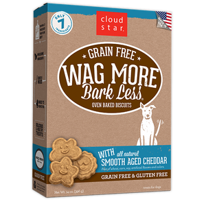Cloud Star Wag More Bark Less Oven Baked Gain Free Smooth Aged Cheddar Dog Treats