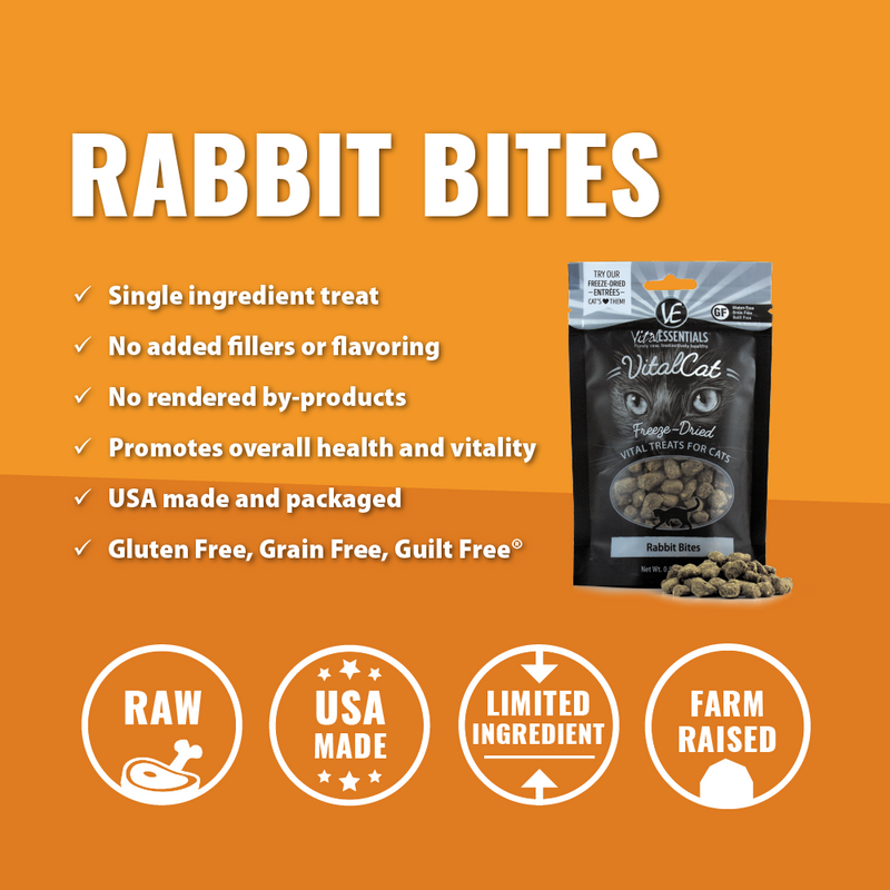 Vital Essentials Vital Cat Freeze Dried Grain Free Rabbit Bites Cat Treats