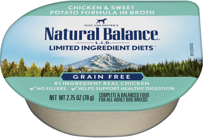 Natural Balance L.I.D. Limited Ingredient Diets Grain Free Chicken and Sweet Potato Formula in Broth Dog Food Cups