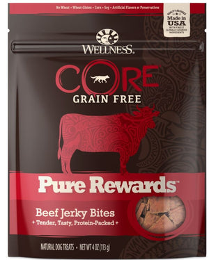 Wellness CORE Natural Grain Free Pure Rewards Beef Recipe Jerky Bites Dog Treats