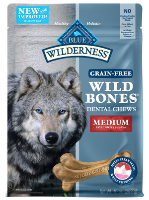 Blue Buffalo Wilderness Wild Bones Dental Chews Medium Size for Dogs
