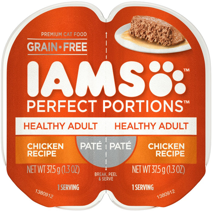 Iams Perfect Portions Healthy Adult Chicken Pate Wet Cat Food Tray