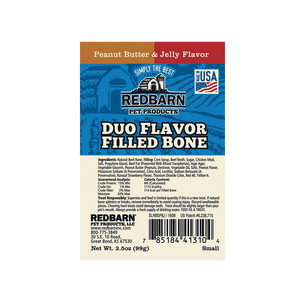 Redbarn Duo Peanut Butter & Jelly Filled Bone for Dogs