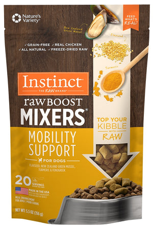 Nature's Variety Instinct Grain Free Freeze Dried Raw Boost Mixers Mobility Support Recipe Dog Food Topper