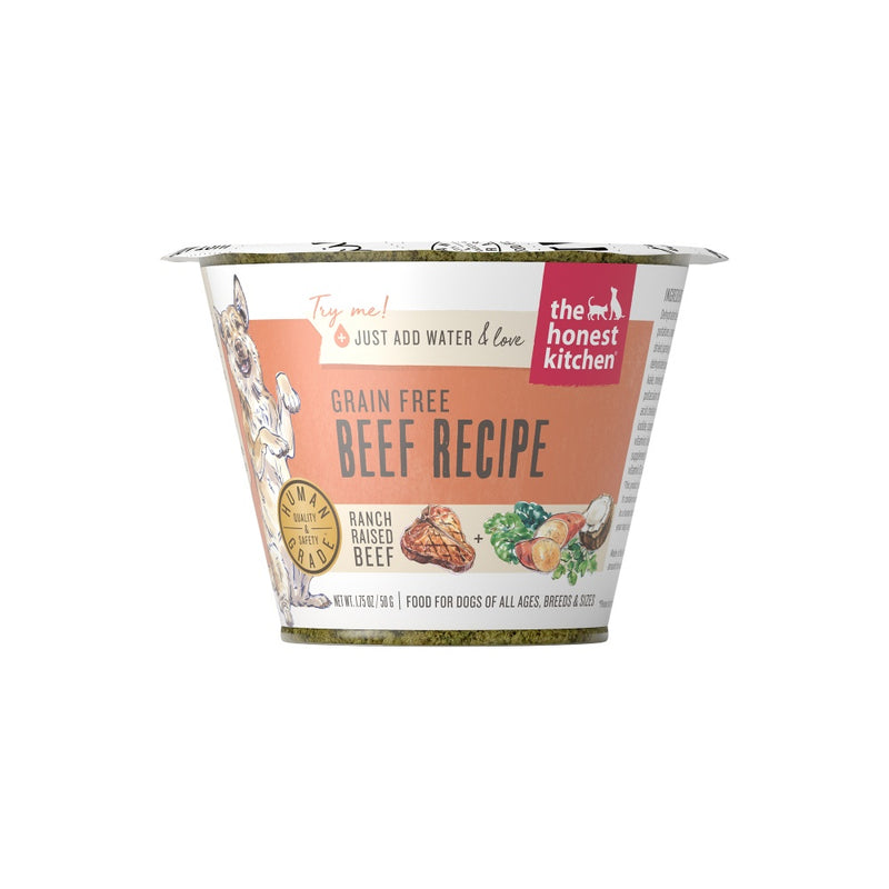 The Honest Kitchen Grain Free Beef Recipe Dehydrated Dog Food Cups