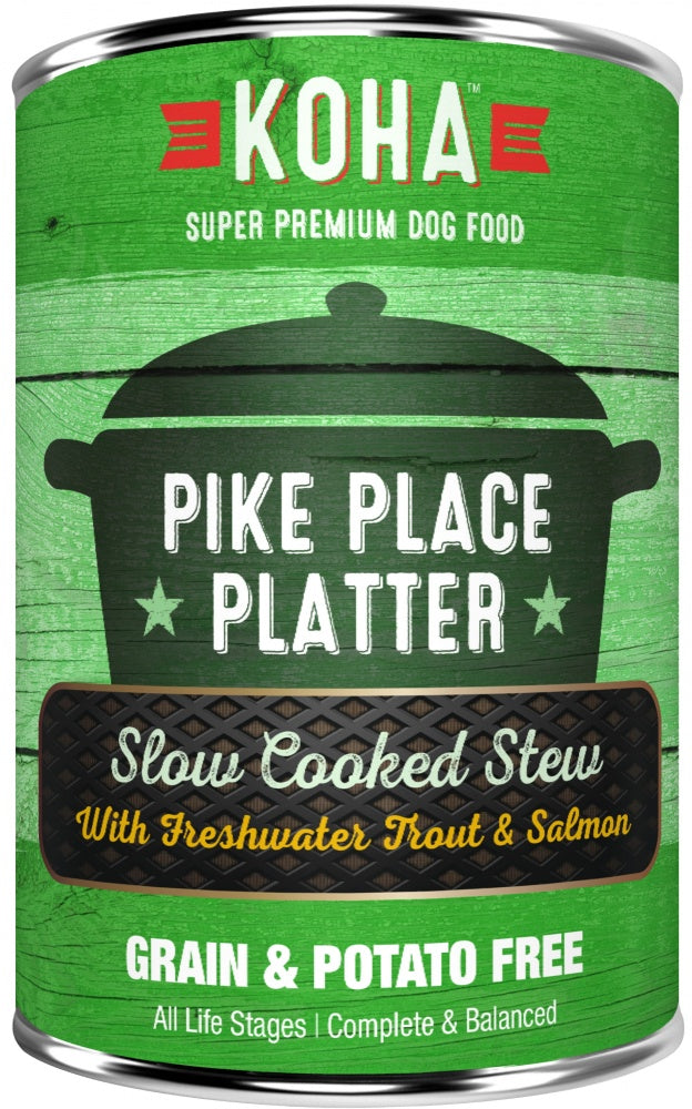 KOHA Grain & Potato Free Pike Place Platter Slow Cooked Stew with Trout & Salmon Canned Dog Food
