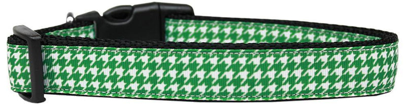 Emerald Green Houndstooth Nylon Cat Safety Collar