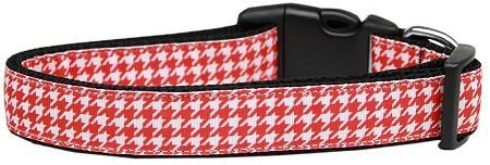 Red Houndstooth Nylon Cat Safety Collar