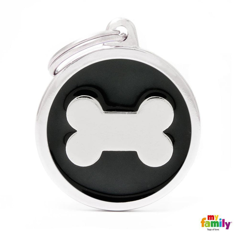 My Family Pet Tags Enamel Circle With Bone