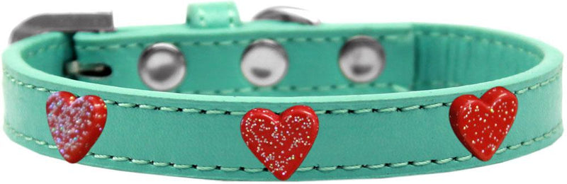 Red Glitter Heart Widget Leather Dog Collar
