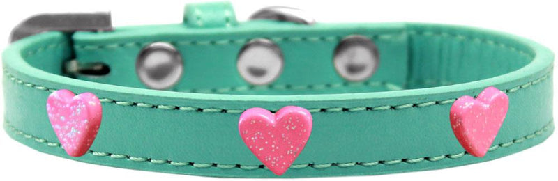 Pink Glitter Heart Widget Leather Dog Collar