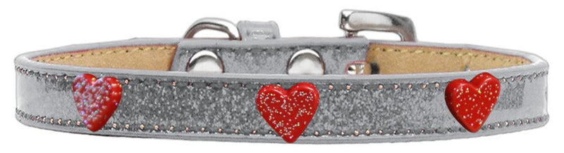 Red Glitter Heart Widget Dog Collar