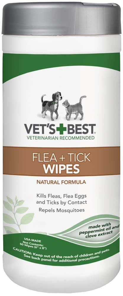 Vet's Best Flea & Tick Wipes for Dogs and Cats 50ct