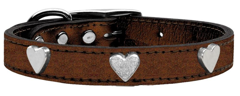 Heart Widget Metallic Leather Dog Collar