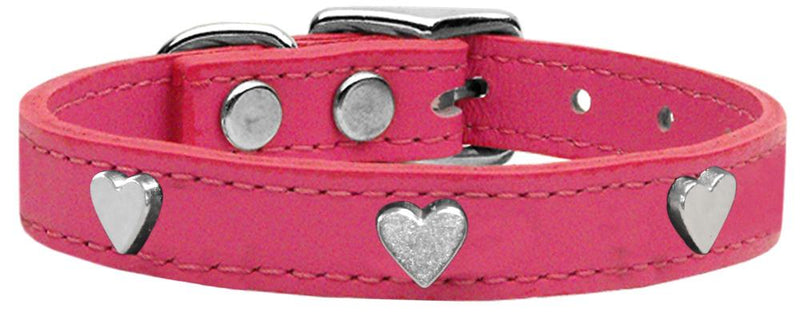 Heart Widget Leather Dog Collar