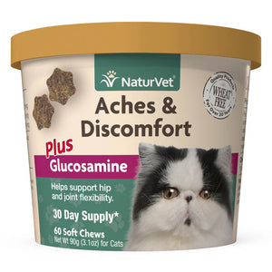 NaturVet Aches and Discomfort Plus Glucosamine Soft Chews for Cats