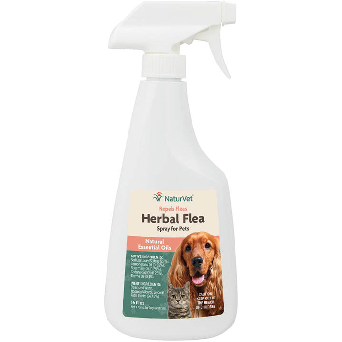 NaturVet Herbal Flea Spray with Essential Oils for Dogs and Cats 16oz