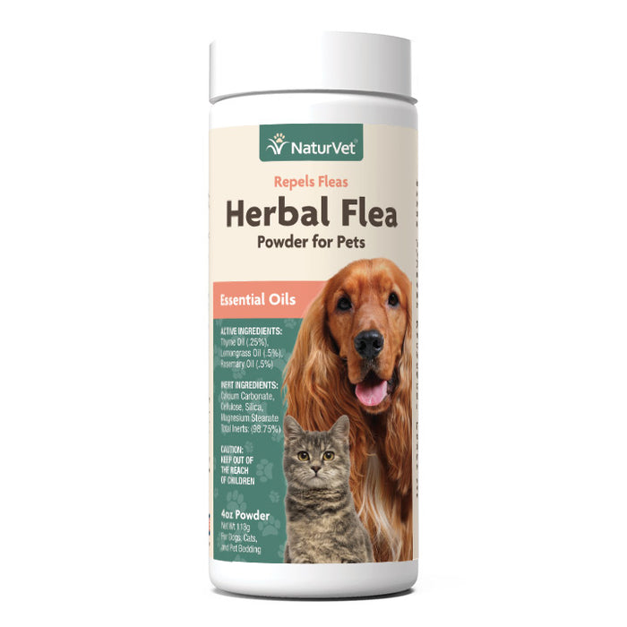 NaturVet Herbal Flea Powder with Essential Oils for Dogs and Cats 4oz