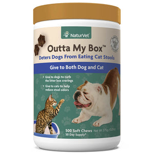 NaturVet Outta My Box Cat Stool Eating Deterrent for Dogs, 500 ct Soft Chews