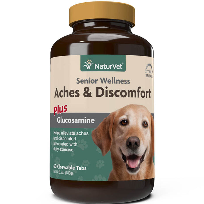NaturVet Senior Wellness Aches and Discomfort Chewable Tabs for Dogs, 60 ct