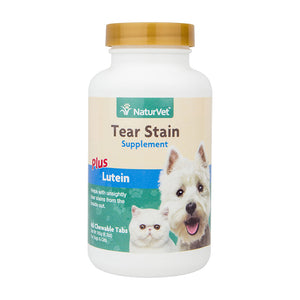 NaturVet Tear Stain Supplement Plus Lutein for Dogs and Cats, 60 ct Chewable Tabs