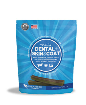 Vetality Skin and Coat 2 in 1 Dental Chews