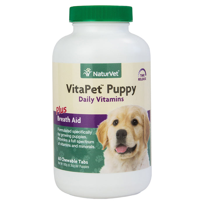 NaturVet VitaPet Puppy Daily Vitamins Plus Breath Aid for Puppies, 60 ct Chewable Tabs
