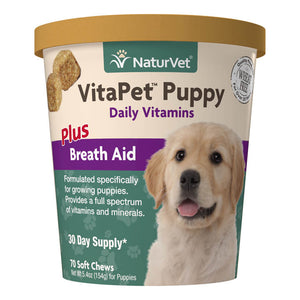 NaturVet VitaPet Puppy Daily Vitamins Plus Breath Aid for Puppies, 70 ct Soft Chews