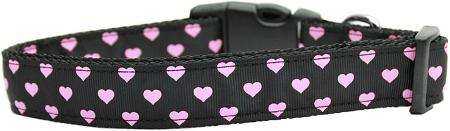 Pink and Black Dotty Hearts Nylon Dog Collar