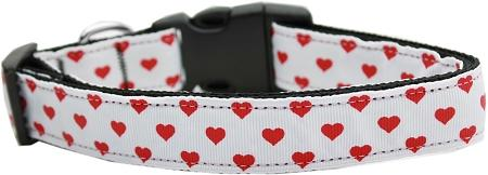 White and Red Dotty Hearts Nylon Cat Collar